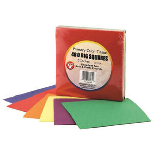 """Hygloss Products Inc. - Tissue Paper 5"""" Squares Primary Colors - 480 Count"""