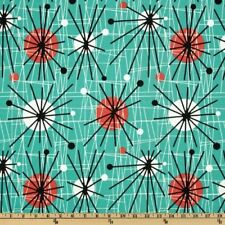 Michael Miller Mid-Century Modern Atomic Turquoise Fabric By The Yard