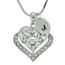 Heart Customizable Letter Clear AB Pendant Made With Swarovski Crystal Necklace