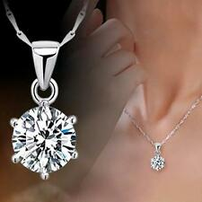 Valentine's Gift Rhinestone Six Claw Pendant Zircon Silver Plated Necklace