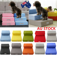 Dog Cat Pet Stairs Training Steps Washable Cover Safe Foam Couch Removable