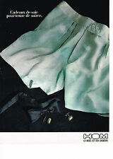PUBLICITE ADVERTISING 044   1987   HOM collection slip caleçons soie
