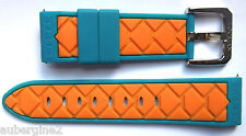 Locman 20mm ORANGE/BLUE RUBBER QUICK-RELEASE  WATCH BAND/STRAP . NEW