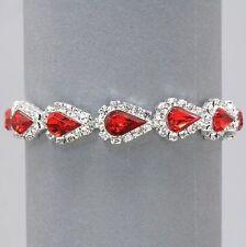 Vintage Inspired Estate Red Light Siam Rhinestone Bracelet  (Sparkle-1539-U)
