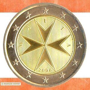Kursmünzen Malta: 2 Euro Münze 2008 Malteserkreuz zwei € Kursmünze Erstausgabe