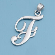 Alphabet Initial Pendant Sterling Silver 925 Rhodium Plated Jewelry Letter F