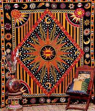 King Size Indian Mandala Sun /Moon Wall Hang Hippy Tribal Tapestry Bed Throw Mat