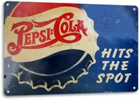 Pepsi Hits Spot Bottle Cap Soda Pop Beverage Diner Rustic Retro Tin Metal Sign