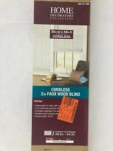 "Home Decorators Room Darkening White Cordless 2"" Faux Wood Blind 35"" x 48"""