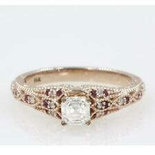 1.16CT Asscher Cut Diamond & Ruby Engagement Wedding Ring in 14K Rose Gold Over