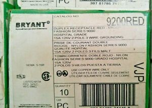 Bryant 9200RED Hospital Grade, 15A, 125V Receptacle, Red Qty 10