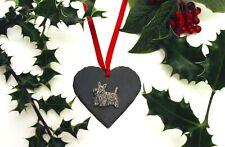 Scottish Terrier Dog Slate Heart Christmas Decoration Scottie Xmas Mum Dad Gift