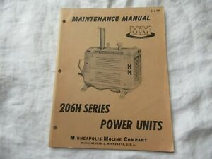 Minneapolis Moline 206h power units engine maintenance service shop manual