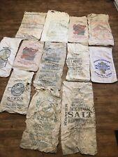 12 Vintage Seed Corn Sugar Feeds Salt Meat Scraps Sacks Cloth Bags Feed READ