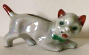 ANTIQUE CROUCHING CAT KITTEN Lusterware Pin Cushion Ceramic Figurine Japan Retro