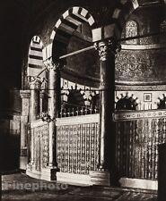1925 Vintage JERUSALEM Rock Temple Column Interior ISRAEL Palestine Photo Art