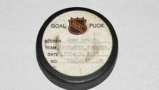 1973-74 John Gould Vancouver Canucks Game Used Goal Scored Puck -Guevremont Ast.