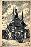WERNIGERODE Harz Sachsen-Anhalt alte Künstler-AK um 1920/30 Ortsmitte Partie