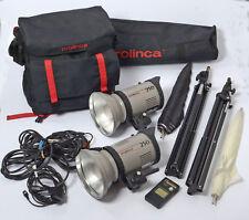 Prolinca Studio Flash set - 250 Heads, Stands, Leads, Umbellas,Case & Flashmeter