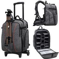 Professional Waterproof DSLR Camera Trolley Bag Laptop Backpack Rucksack Daypack