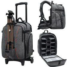 Professional Waterproof DSLR Camera Trolley Bag Laptop Backpack Rucksack Daypack