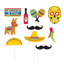 Fiesta Photo Booth Props [10pc] Day of Dead Cinco de Mayo Party Activity Supply