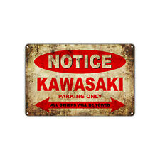 Kawasaki Motorcycles Parking Sign Vintage Retro Metal Art Shop Man Cave Bar