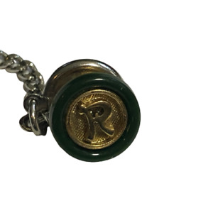 """Vintage SWANK Small Letter """"R"""" Gold Tone & Green Tie Tack"""