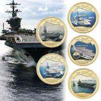 WR 5pcs USA Aircraft Carrier 24K Gold Challenge Coin Collection Set