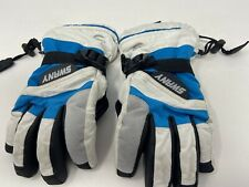 SWANY Youth Size 5/6 White Blue Black Ski Snowboard Gloves Excellent