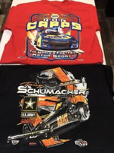 """LOT OF 2 NHRA DRAG RACING """"RON CAPPS and THE SARGE"""" T- SHIRTS both  SIZE LARGE"""