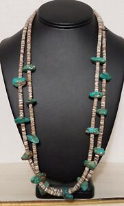 Double 2 Two Strand Turquoise Nugget Heishi necklace Native American Vintage Old