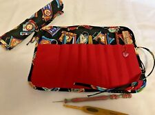 Handmade NEVER ENOUGH TIME  Quilted cotton fabric crochet hook case / holder