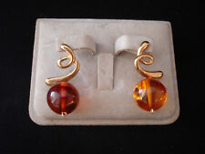 VINTAGE NATURAL BALTIC / POLAND  AMBER W/ 14K YELLOW GOLD DANGLE / DROP EARRING