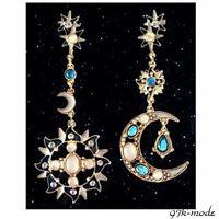 1Pair New Beautiful Rhinestone Resin Star Sun Moon Charm Long Dangle Earrings LF