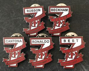 UNITED MAGNIFICENT 7s SOUVENIR ENAMEL PIN BADGE SET x 5 - 10% DONATED TO THE NHS