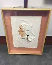 """Three Feathers"" Roy Purcell 1992 Hand Cast Paper Art Authentic American Orginal"