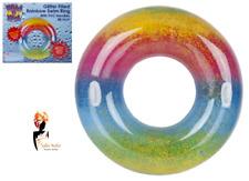 """48"""" arco iris gigante hinchable Natación Anillo Piscina Flotador Agua Brillo Diversión Playa"""