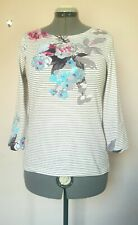 JOULES 12-14 White & Grey Striped Rose Print Breton Harbour Midweight Cotton Top