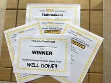 50th (Golden) Wedding Anniversary Quiz 20 PERSONALISED A5 Sheets Tiebreakers