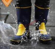 New Men Waterproof Sea Fishing Slip On Rubber Rainboot Shoes High Top Ankle Boot