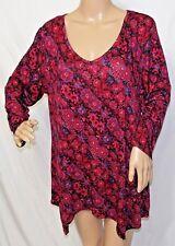 Covington Women Plus Size 1x 2x Sharkbite Burgundy Floral Tunic Top Blouse Shirt