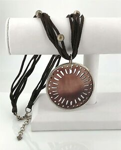 Silpada .925 Sterling Silver & Brown Pen Shell Pendant, Leather Beaded Necklace