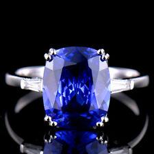 5.0CT Natural Blue Tanzanite 9x11mm Diamond Wedding Ring Solid 14K White Gold