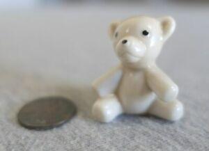 "Bug House Miniature Ceramic Teddy Bear Dollhouse Figurine 1.25"" H w Sticker"