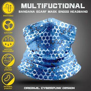 Cyberpunk Neck Gaiter, Techwear Honeycomb texture cyber apparel. Bike face mask