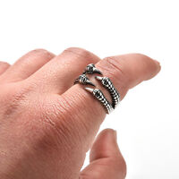 1x Mens Titanium Steel Finger Rings Chic Dragon Claw Gothic Biker Ring YH