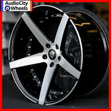 """20"""" MQ 3226 WHEELS BLACK MACHINED FACE STAGGERED RIMS 5x114.3 FIT LEXUS IS300"""