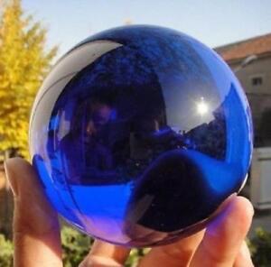 80MM Huge Rare Natural Quartz Blue Magic Crystal Healing Ball Sphere + Stand