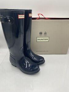 Hunter Original Tall Women's Rubber Rain Boots Navy Blue (NVY) Gloss